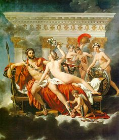 Mars Disarmed by Venus and the Three Graces: 1824 by Jacques Louis David (Musees Royaux des Beaux-Arts, Brussels, Belgium) - Neo-Classical