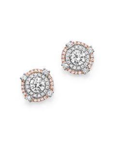 Diamond Cluster Double Halo Stud Earrings in 14K Rose and White Gold, .85 ct. t.w. | Bloomingdales's