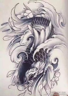 Koi Tattoo Design, Tatoo Designs, Japanese Tattoo Designs, Pez Koi Tattoo, Carp Tattoo, Tattoo Drawings, Body Art Tattoos, Sleeve Tattoos, Koi Art