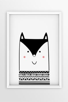 BLACK AND WHITE NURSERY ANIMAL ART | MONOCHROME PRINT | WALL ART | KIDS POSTER | HAPPY FOX