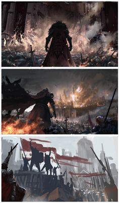 War by Yin Wang on ArtStation. Fantasy Concept Art, Fantasy Story, High Fantasy, Dark Fantasy Art, Medieval Fantasy, Fantasy Artwork, Fantasy World, Fantasy Landscape, Landscape Art