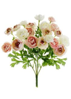 "Mini Silk Ranunculus Bush in Pink Ivory<br>3/4 to 1.5"" Blooms x 7"" Wide"