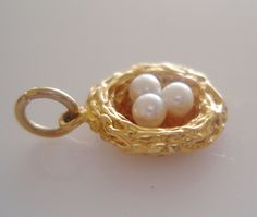 9ct Gold Birds Nest with Pearl Eggs Charm or Pendant by TrueVintageCharms on Etsy