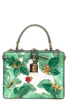 e14f610f4bc Dolce Gabbana  Banana Leaf  Embellished Leather   Snakeskin Box Bag    Nordstrom