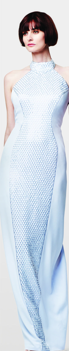 Glass Bead Honey-Comb Halter Gown by Couture ♥ Fashion Mag, World Of Fashion, Halter Gown, Formal Dresses, Wedding Dresses, Baby Blue, Circles, Evening Gowns, Fashion Forward