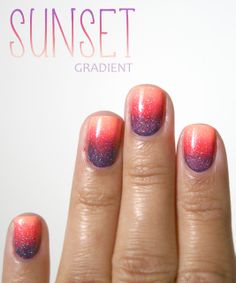 Sunset Gradient- China Glaze Sun of a Peach, a beautiful pastel / neon fishing base all over the nail, I stamped with Dutch'Ya Just Love OPI (purple with copper highlights) and High Hopes of CH (the raspberry).