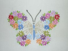 Lovely Floral Butterfly Hand-Embroidered by MelysHandEmbroidery