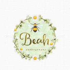 This Premade watercolor bee logo with a flower wreath would be perfect and affordable for your small business branding. It was created in