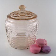 Vintage pink glass cookie jar  Anchor Hocking by StrychnineVintage