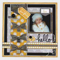 Scrapbook Layout using Striped Grosgrain Ribbon for Bows
