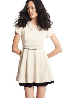 GRACIA Cream Short Sleeve Belted Lady Dress $59.99 {classy and cute!}