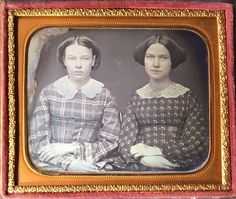 This is a daguerreotype of beautiful teenage sisters. Their hair is styled the same way and the hands are also crossed exactly the same. They are both wearing different white lace collars and gorgeous dresses. | eBay!
