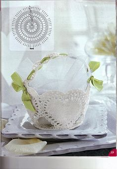 Koszyczki - Urszula Niziołek - Picasa Web Albums Crochet Vase, Thread Crochet, Crochet Gifts, Filet Crochet, Crochet Motif, Crochet Flowers, Crochet Stitches, Crochet Patterns, Crochet Storage
