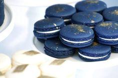 Navy french macarons w/ gold dust splatter | Black, Gold, & Navy ...