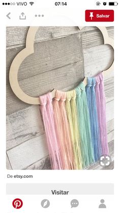 Cloud Wall Hanger Cloud Wall Mobile Cloud Decor Scandi *but white and grey Pastel Nursery, Cloud Nursery Decor, Baby Nursery Diy, Diy For Kids, Crafts For Kids, Craft Ideas For Girls, Fun Crafts, Diy And Crafts, Crafts With Yarn