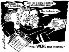 THE CARTOON ABOVE was an immediate response to the outrageous behaviour of world leaders at the memorial service for Nelson Mandela. Being able to encapsulate public reaction in a quick cartoon drawing like this is very satisfying. Political Events, Political Cartoons, David Cameron, Nelson Mandela, World Leaders, Barack Obama, Cartoon Drawings, Caricature, Cool Kids