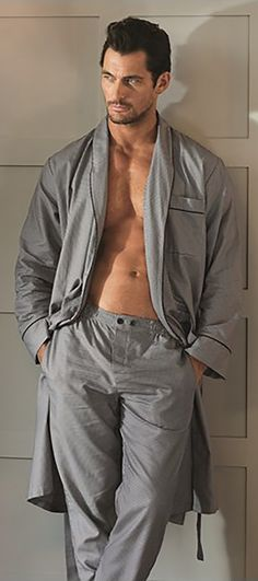 Wouldn't we all love to buy a David Gandy in the Menswear section, sadly we can't. However, we have this grey robe and trousers instead!