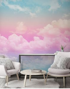 Abstract Handpainted Colorful Pink and Blue Clouds Wallpaper, Colorful Rainbow Creative Clouds Wall Murals Wall Decor Cloud Wallpaper, Custom Wallpaper, Photo Wallpaper, Ombre Painted Walls, Hand Painted Walls, Bedroom Murals, Bedroom Wall, Diy Wall Painting, Smooth Walls