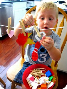 leaf patterns with clothespins! Fun activity