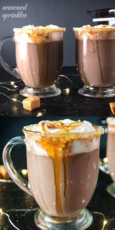 This creamy decadent slow cooker salted caramel hot chocolate is the dream hot cocoa recipe with limited prep and fuss. Slow Cooker Hot Chocolate Recipe, Chocolate Candy Recipes, Hot Cocoa Recipe, Cocoa Recipes, Salted Caramel Hot Chocolate, Homemade Hot Chocolate, Hot Chocolate Bars, Chocolate Milkshake, Chocolate Brownies