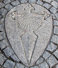 Croix de Saint Jacques de Compostelle sur trottoir