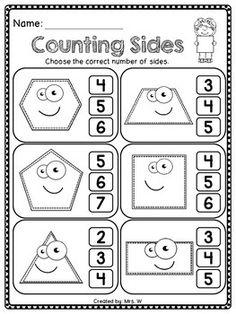 Shapes Worksheet Kindergarten, Shapes Worksheets, Kindergarten Math Activities, Toddler Learning Activities, Preschool Learning, Kindergarten Worksheets, Teaching Kids, Kids Education, Educational Crafts