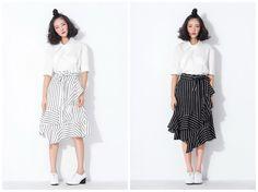stripe skirtwrap skirtasymmetrical skirtknee by HerselfStudios
