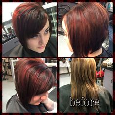 Before and after. Short hair. Kenra color. Dark brown and red highlights.