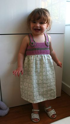 Crochet and fabric vintage baby / girl dress