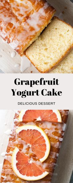 Serve this Grapefruit Yogurt Cake at any event and wow your guests! Moist and sweet, this cake is sure to not disappoint. Recipe Using Grapefruit, Grapefruit Recipes Dessert, Grapefruit Yogurt Cake, Citrus Cake, How To Eat Grapefruit, Cake Recipes, Dessert Recipes, Yogurt Recipes, Foods