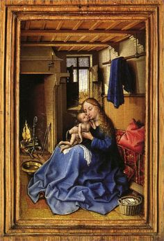 before of Robert Campin.Robert Campin MASTER of Flémalle,Virgin and Child in an Interior.Oil on oak, 23 x 15 Gallery, London. Renaissance Kunst, Renaissance Paintings, Robert Campin, National Gallery, Art Ancien, European Paintings, Madonna And Child, Medieval Art, Religious Art