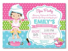 Spa Party Invitation. Spa Birthday Party por happyappleprinting                                                                                                                                                      Más