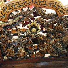 Dragon and pheonix wood carving with exquisite workmanship on a vintage oriental chair. Available exclusively at red sega seeds singapore. Best Places In Singapore, Wood Carving, Unique Vintage, Vintage Furniture, The Good Place, Oriental, Seeds, Dragon, Buy And Sell