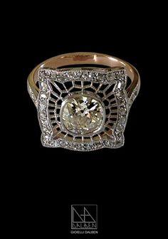 RING old mine cut diamond , rose cut diamonds ,rose gold , platinum - GIOIELLI DALBEN - italian fine jewelry