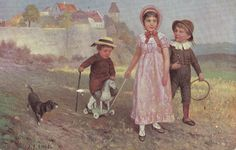 Pretty Vintage PC - Children Playing - Toy Horse - Black And White Dog - Engel