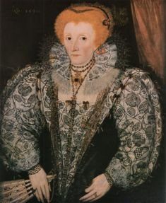 A portrait of Elizabeth I. Her dress is decorated with stylised florals worked in blackwork embroidery and dates from Artist unknown. This portrait hangs in Jesus College, Oxford, founded by Elizabeth I in Elizabeth I, Elizabeth Bathory, Anne Boleyn, Elizabethan Era, Elizabethan Clothing, Elizabethan Costume, Elizabethan Fashion, Tudor Dynasty, Blackwork Embroidery