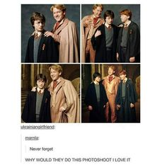 This is the kind of photo shoot that Gilderoy Lockheart would have done with Harry. Harry pulls Ron into it because he doesn't want to be stuck taking pictures with Lockhart alone. Theme Harry Potter, Harry Potter Jokes, Harry Potter Cast, Harry Potter Universal, Harry Potter Fandom, Harry Potter World, Lockhart Harry Potter, Hogwarts, Ron Et Hermione