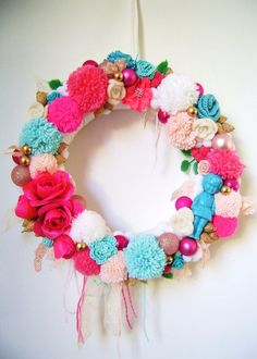 Candy coloured Christmas wreath