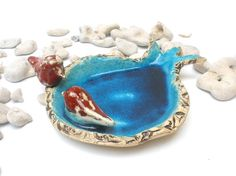 Ceramic brown and turquoise  pomegranate bowl with a by orlydesign