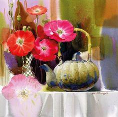 АКВАРЕЛЬНЫЙ натюрморт и цветы | Shin Jong Sik http://actualartist.ru/akvarel-watercolor/akvarelnyj-natyurmort-i-cvety-shin-jong-sik.html