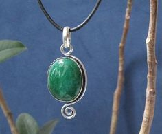 Emerald Green Agate Gemstone Pendant on Black Leather Rope by Athénaïs Jewelry www.AthenaisJewelry.etsy.com www.AthenaisJewelry.com