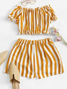 Off Shoulder Striped Crop Top With ShortsFor Women-romwe Cute Comfy Outfits, Cute Outfits For School, Cute Girl Outfits, Kids Outfits Girls, Cute Summer Outfits, Trendy Outfits, Teenage Outfits, Teen Fashion Outfits, Cute Fashion