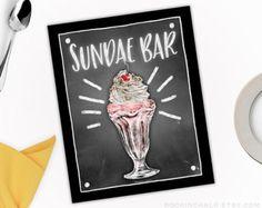 Sundae Station | Ice Cream Bar Sign | Chalkboard Style  for Birthdays, Weddings, Party Decorations | Dessert Table, Ice Cream Sundae Station
