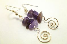 Amethyst Spirals  hand made earrings by foxish49 on Etsy, $15.00