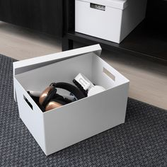 """TJENA Storage box with lid, white, 9 ¾"""". This box is just right for paper, keepsakes or accessories, and durable enough for everyday use. Choose a color you like – keep it the way it is or be creative and design your own look. Desk Essentials, Home Office Accessories, Recycling Process, Storage Boxes With Lids, Ikea Kids, Ideas Para Organizar, Cord Organization, Organizing, Waste Paper"""