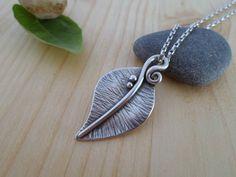 Sterling silver leaf pendant, woodland jewelry, artisan silver leaf, nature jewelry, silver leaf necklace, leaf silver jewelry