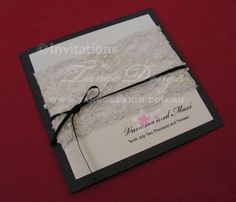 created with unique pearled lace, or beaded lace and neatly hidden behind the printed panels. Victorian, vintage or glam rustic themes, this invitation is breathtaking. Wedding Invitation Maker, Shabby Chic Wedding Invitations, Black And White Wedding Invitations, Wedding Invitations Online, Vintage Wedding Theme, Vintage Wedding Invitations, Diy Invitations, Invites, Medieval Wedding