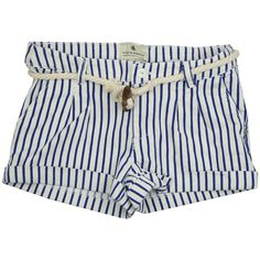 Scotch R'Belle White & Blue Stripe Shorts With Toggle Belt ($58) ❤ liked on Polyvore featuring shorts, bottoms, pants, short and filler