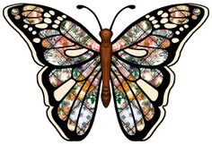 ArtbyJean - Paper Crafts: Set A01 - Theme Patchwork - Clipart Decoupage Butterflies prints for scrapbooks, cards, crafts.