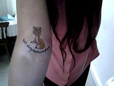 """Me and my mother always watched disney films together but one that always meant the most to us is 'The fox and the hound' So on my 21st birthday I drew up Todd and Copper. This is mine on my arm and my mum who said she would never have another tattoo after her second one now has Copper on her upper thigh :) The tattoo says 'We'll always be friends forever'"""